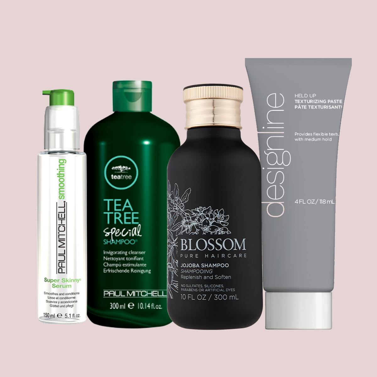 Assorted professional haircare products including Paul Mitchell, Blossom Pure Haircare and deslingline